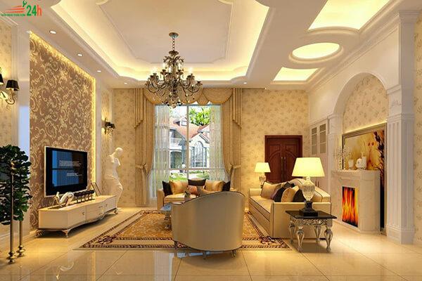 Trần thạch cao sang trọng cho phòng khách
