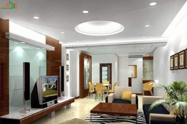 Phòng khách được thiết kế theo phong cách tuy đơn giản mà đẹp