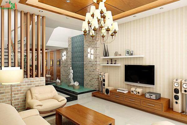 Phòng khách được bố trí đơn giản nhưng hiện đại