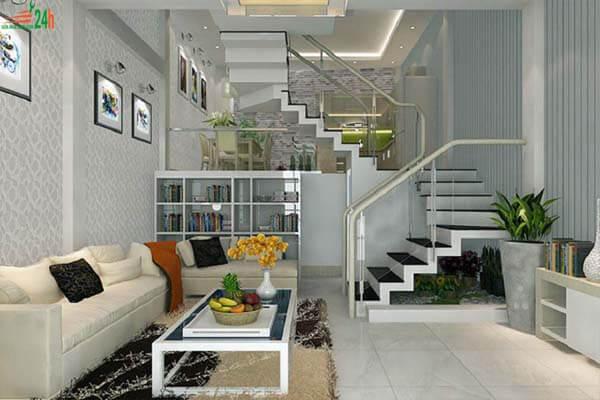 Phòng khách nhà ống có cầu thang được thiết kế nội thất đơn giản