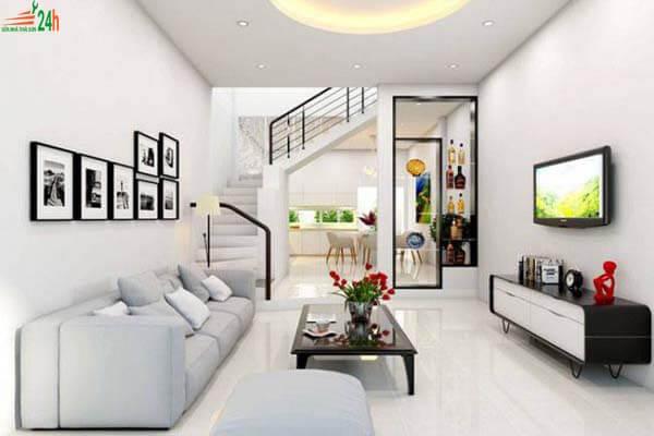 Phòng khách nhà ống phong cách tối giản