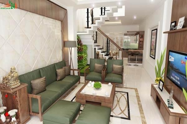 Phòng khách của nhà ống thoáng mát hơn với cây xanh